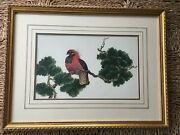 Botanical Bird Print Exotic Red Bird Vintage Decor Crowned Feathers Gold Frame