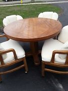 200 Down Drexel Vtge Round Pedestal Solid Wood Dining Table W/ 4 Chairs And Leaf