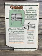 Vintage User Manual Monarch Malleable Electric Kitchen Range Full Automatic Oven