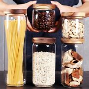 Glass Kitchen Canisters Food Bottle Storage Jars With Airtight Lid 5 Pcs Pack