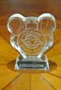 Disney Cruise Line Dcl Cast Member Award Crystal Paperweight Magic Dream Wonder