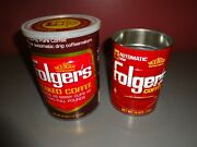 Lot Of 2 Vintage Folgers Metal Coffee Cans Flaked Automatic Drip Mountain Grown