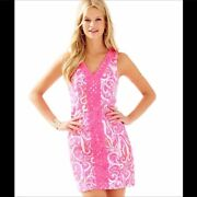 Lilly Pulitzer 00 Pink Pout Ryder Shift Dress Lace Bright Pink White Summer