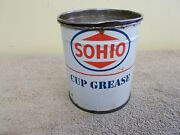 Vintage Sohio Cup Grease Oil Can Gas Service Station Advertizing Sign 1 Pound