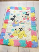 Vintage Dundee Disney Baby Mickey Minnie Mouse Pluto Puzzle Blanket Comforter