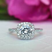 Brilliant Cut 1.10 Ct Real Diamond 14k White Gold Engagement Ring Size 6 7 8