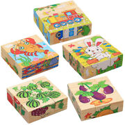 9pcs Wooden 1.34'' Building Block Sorting Puzzles Toddlers Learning Toys