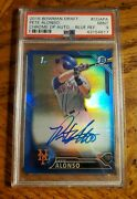 2016 Pete Alonso Rc Bowman Chrome Draft Blue Ref /150 Ny Mets Psa9 Bgs9.5 Rookie