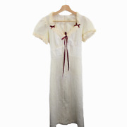 A211 Vintage 60s Sheer Lace Pattern White Summer Dress Red Ribbon Women's