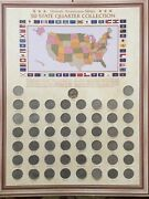 2007 American 50 State Quarter Collection With Map Mounting Board