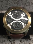 Gor Mossimo Mm90070 Men's Retro Brown Genuine Leather Watch Digital And Analog New
