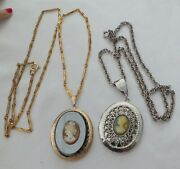 Two Vintage Cameo Lockets /necklaces Gold And Silver Plated