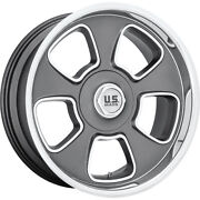 4 Staggered 20x8 / 20x9.5 Us Mags Blvd Gray Machined 5x5 5x5.5 +1/+1 Wheels Rims