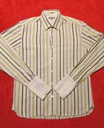 Ted Baker Multicolor Striped French Cuff Long Sleeve Men Shirt Sz 4 Portugal Euc
