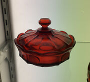 20th Century Vintage Red Fostoria Glass Bowl With Lid