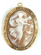 Victorian Antique Carved Carnelian Shell Cameo 10k Gold Pendant Brooch Pin