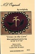 Crows In The Corn Quilt Pattern Wool Table Topper Penny Rug Easy