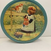 Danish Butter Cookie Tin Girl With Wagon And Kitten