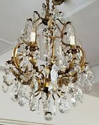 stunning Early 20th Century 7 Light Bronze And Crystal Chandelier