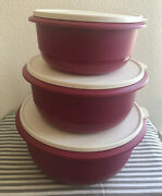 Tupperware Set Of 3 Mixing Bowls Radish W/ Ivory Seal 40, 25, 14 Cups New