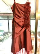 Ladies Black Butterfly Red Plum Chiffon Tulle Party Dress W Ruffles. Size 6