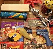 Lot Of Space Toys 1950's And Up Rocket And Solar Guns Zoom Lite Bee Robot Bike