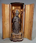 Fine Japan Japanese Carved Wood Figure Of A Deity In Zushi Case Ca. 19-20th C