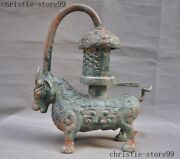 Ancient China Bronze Ware Ox Bull Cattle Oil Lamp Oil-lamps Light Palace Lantern
