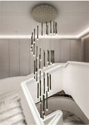 Simple Modern Compound Spiral Staircase Chandelier Strip Led Pendant Lamp Light