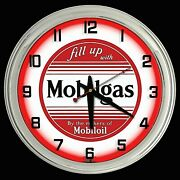 16 Fill Up With Mobilgas Sign Red Neon Clock Man Cave Garage Oil Mobil Gas