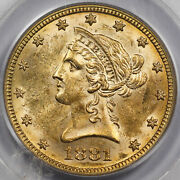 1881 10 Liberty Head Gold Coin Pcgs Ms61 Unc/bu Old Green Holder Nice Luster