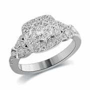 3/4 Ct Natural Diamond Vintage Style Frame Engagement Ring In 14k White Gold