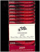 2000 - 2009 Silver Proof Sets - Dcam Coins - All Boxes And Coaand039s - Free Shipping