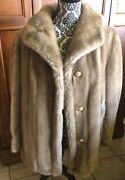 Vtg Tan Womens Faux Mink Fur Tissavel France Dubrowsky And Perlbinder Sz 18