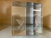 Birds In Cage By Vicke Lindstrand For Kosta Crystal Paperweight Prism Sculpture