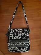 Vera Bradley Large Messenger Crossbody Bag Quilted Black/white Floral Nearly New