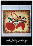 Vintage American 1950and039s Straw Christmas Tree Decorations Greeting Card Eb01206