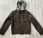 Scotch And Soda Sz S Amsterdam G-1 U.s. Navy Jacket Brown Quilted Lined Hooded