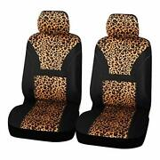 Leopard Pattern Print Front Universal Fit Car Seat Covers Cute Bucket Seat Cover