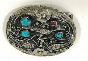 Navajo Silver Turquoise Coral Belt Buckle With Flowers Roadrunner Native Vintage