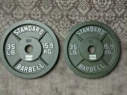 Cap 35 Lbs Olympic Weight Plates, Pair-2 Plates 70 Lbs Total. - Lightly Used