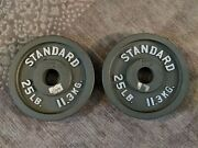Cap 25 Lbs Olympic Weight Plates, Pair-2 Plates 50 Lbs Total. - Lightly Used