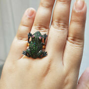 Frog Design Tsavorite Gemstone Cocktail Ring 925 Silver Mothers Day Gift Jewelry