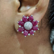 Ruby Gemstone Diamond Pave Stud Earrings 18k White Gold Mothers Day Gift Jewelry