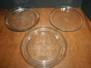 Vtg Fire King Glass Pie Plates Blue Lot Of Three Depression Glass Clear 9