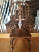 Antique Victorian Oak And Elm Broad Arm Windsor Chair C1850