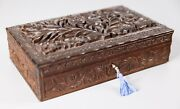 Antique 19th Century English Anglo-indian Carved Jewelry Box Lock And Key