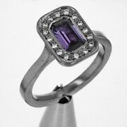 Purple Sapphire And Diamond 18ct Solid White Gold Ring Size M1/2 See Videos