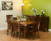 7-pc Amish Mission Trestle Dining Table Set Boat Top Rectangle Solid Wood