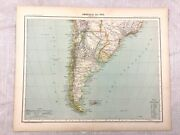 1894 Antique Map Of South America Chile Uruguay Argentina 19th Century French